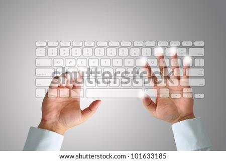 Hand on Keyboard - stock photo