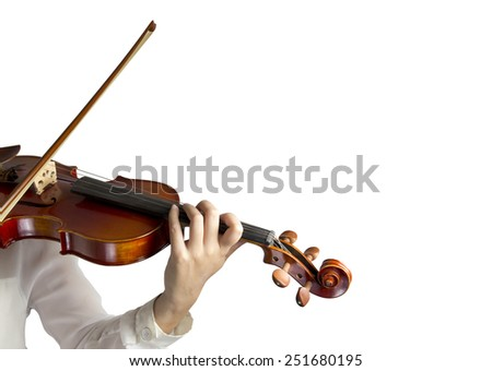 Hand on the strings of a violin over white background  - stock photo