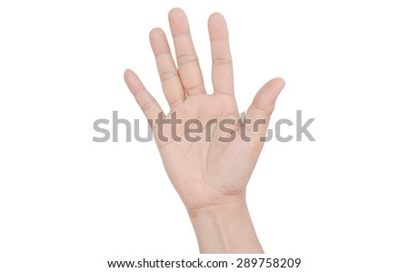 Hand on white background - stock photo