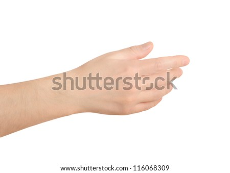 Hand on white background something holding. Template for presentation. - stock photo