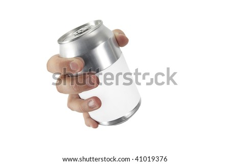 hand on white background with a can - stock photo
