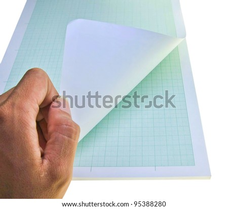 hand open graph paper - stock photo