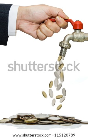 Hand open water tap with coins falling - stock photo