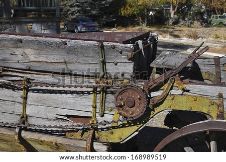 Hand operated brake mechanism on old horse-drawn cart - stock photo