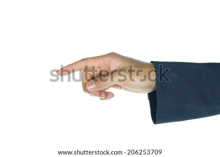 Hand or palm of businessman on white background. Businessman show hand at 45 degree. Opening the palm of the hand.
