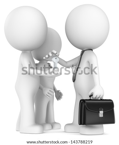 Hand over keys. The Dude and wife getting keys from seller - stock photo