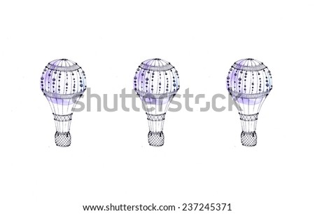 Hand paint balloon with white background. (Can be used as texture for cards, invitations, web sites or for any other design). Party and wedding decor elements.Background with vintage hot air balloon. - stock photo