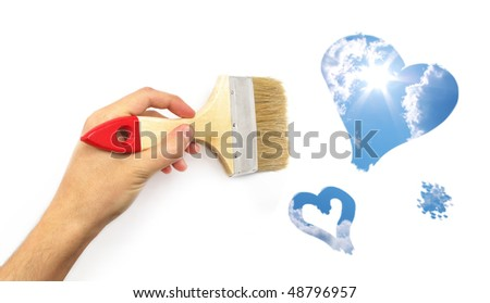 Hand paint the sky hearts. Conceptual design. - stock photo