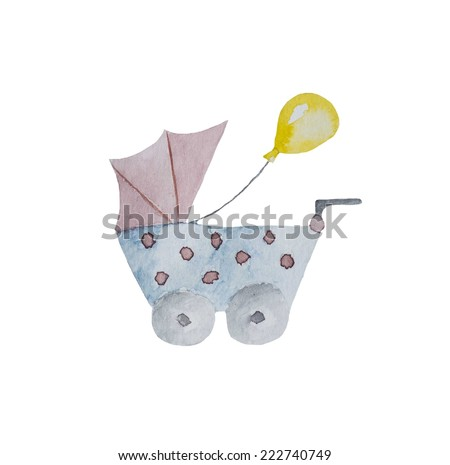 Hand paint watercolor carriage for baby pattern.  - stock photo