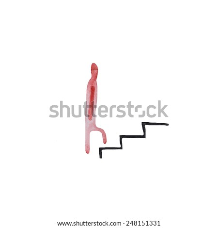 Hand paint watercolor people ascending the stairs pattern. (Can be used as texture for cards, invitations, DIY projects, web sites or for any other design)  - stock photo