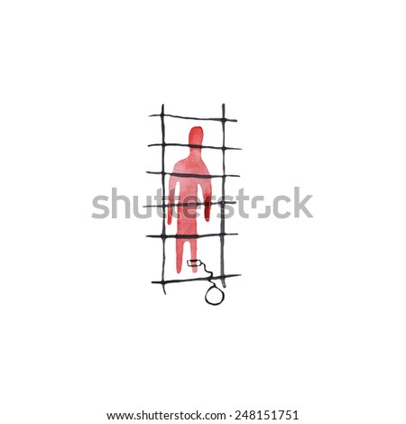 Hand paint watercolor people in prison pattern. (Can be used as texture for cards, invitations, DIY projects, web sites or for any other design)  - stock photo