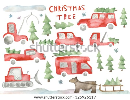 Hand paint watercolor (set) Christmas tree transport by car pattern. (Can be used as texture for cards, invitations, DIY projects, web sites or for any other design) - stock photo