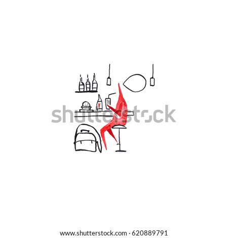 Hand paint watercolor stick figure illustration. Red people. Speech. Man in bar. Heart. (Can be used as texture for cards, invitations, DIY projects, web sites or for any other design.)