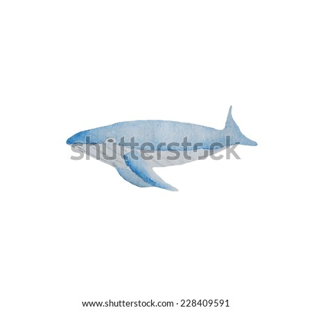 Hand paint watercolor whale pattern. (Can be used as texture for cards, invitations, DIY projects, web sites or for any other design)  - stock photo