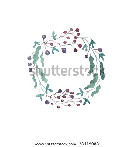 Hand paint watercolor wreath of berries and leaves pattern. (Can be used as texture for cards, invitations, DIY projects, web sites or for any other design)  - stock photo