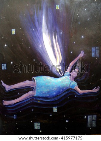 hand painted abstract composition girl despair falling into the abyss in the night sky and an angel who tries to save her. watercolor, oil painting.
