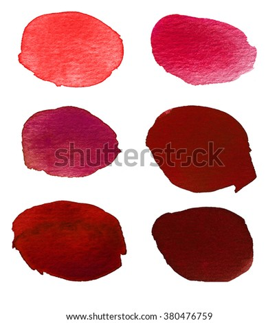 Hand painted abstract watercolor red blots