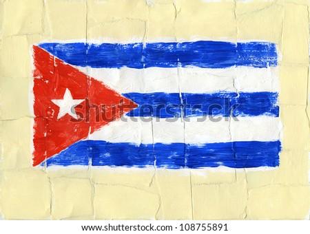 Hand painted acrylic flag of Cuba - stock photo