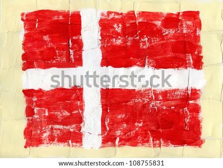 Hand painted acrylic flag of Denmark - stock photo