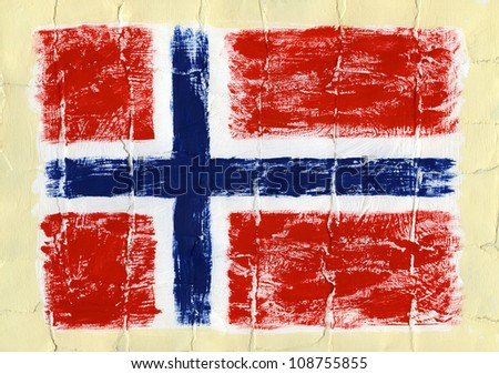 Hand painted acrylic flag of Norway - stock photo