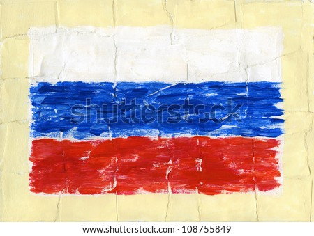 Hand painted acrylic flag of Russia - stock photo