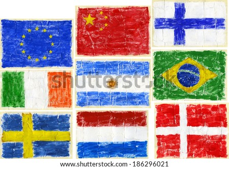 Hand painted acrylic flags.  Including flags of EU, China, Finland, Ireland, Argentina, Brazil, Sweden, Netherlands, Denmark. - stock photo