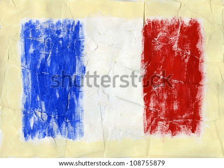 Hand painted acrylic France flag - stock photo