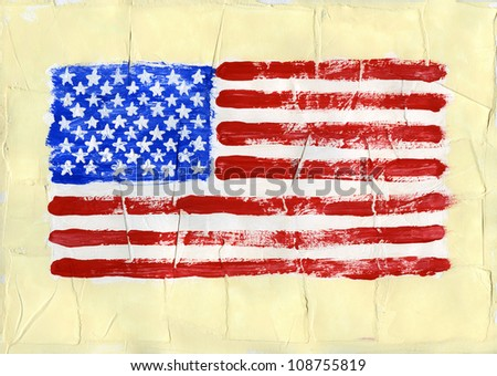 Hand painted acrylic United States of America flag - stock photo