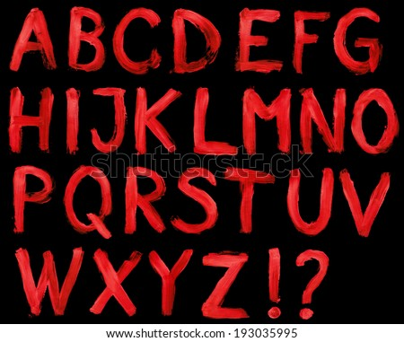 hand painted alphabet isolated on deep black background, high resolution file.