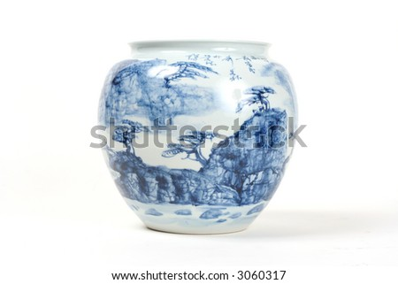 Hand painted antique Chinese vase - stock photo