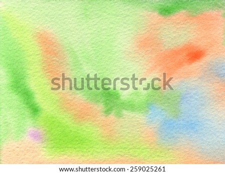 Hand-painted background in light tones of green, orange, blue and just a touch of purple. Abstract watercolor painting on rough watercolor paper. Hand drawn using transparent watercolor paint. - stock photo