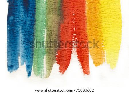hand painted background, rainbow - stock photo