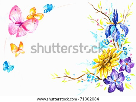 Hand painted background with flowers and butterflies.Picture I have created with watercolors. - stock photo