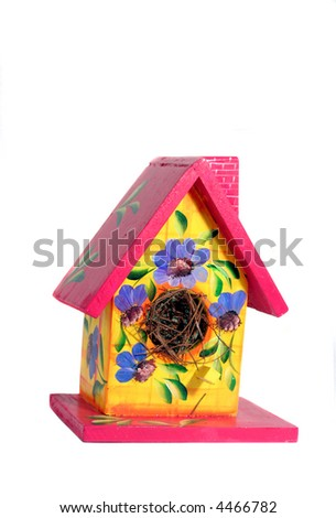 Hand Painted Bird House - stock photo