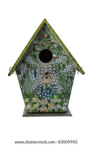 Hand painted birdhouse isolated on a white background - stock photo