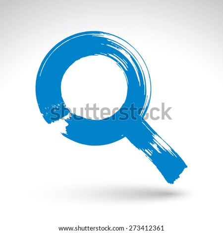 Hand-painted blue magnifying glass icon isolated on white background, simple loupe symbol created with real ink hand drawn brush, scanned and vectorized. - stock photo