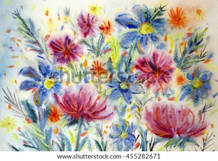 Hand painted bright summer flowers in pink,orange,yellow and blue.