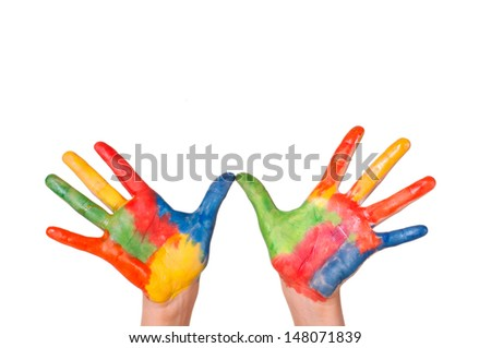 Hand Painted Child, colorful fun.Creative, funny and artistic means happy.Isolated on white. - stock photo