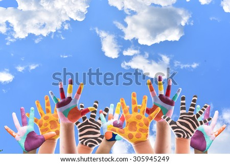 Hand Painted Child. hand paint on blue sky background. - stock photo