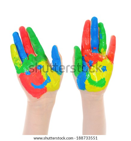 Hand Painted Child. Isolated on white background - stock photo