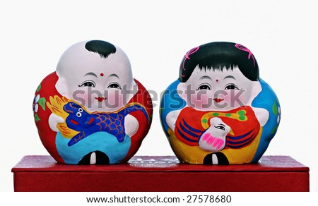 Hand painted Chinese dolls, Souvenir - stock photo