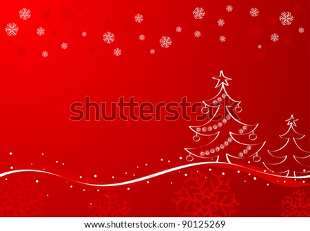 Hand painted Christmas background with tree, element for design, raster version