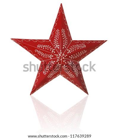Hand painted Christmas star. - stock photo