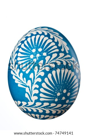 Hand painted easter egg isolated on white - stock photo