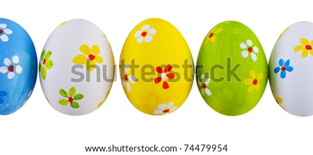 Hand painted easter eggs. - stock photo