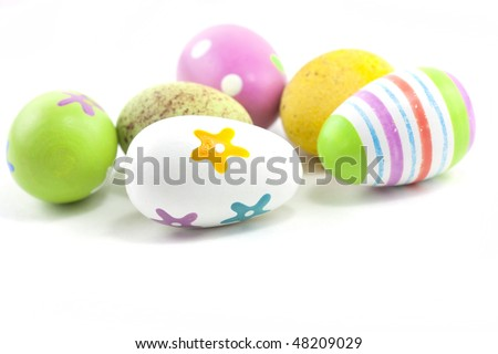 hand painted easter eggs close up macro studio shot - stock photo