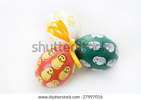 Hand-painted Easter eggs isolated