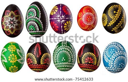 Hand painted easter eggs isolated on white - stock photo