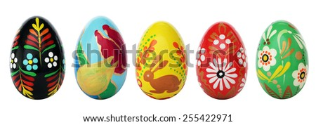 Hand painted Easter eggs isolated on white. Floral, colorful spring patterns and designs. Traditional, artistic, handmade and unique. More sets available in my portfolio. - stock photo