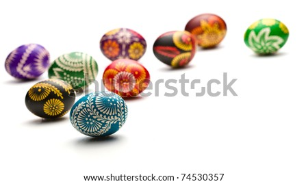 hand painted easter eggs on white background - stock photo